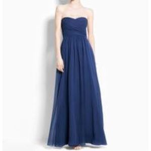 Navy Strapless Bridesmaids/Prom Gown